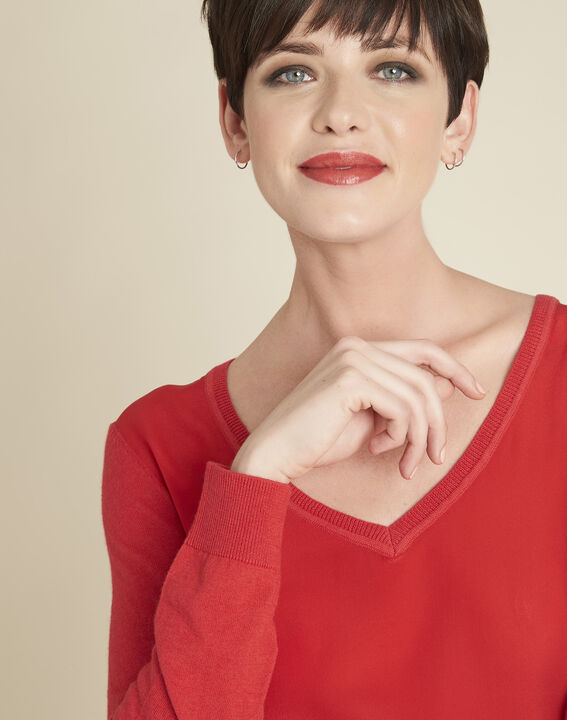 Bliss red dual-fabric sweater in cotton and silk with V-neckline (3) - 1-2-3
