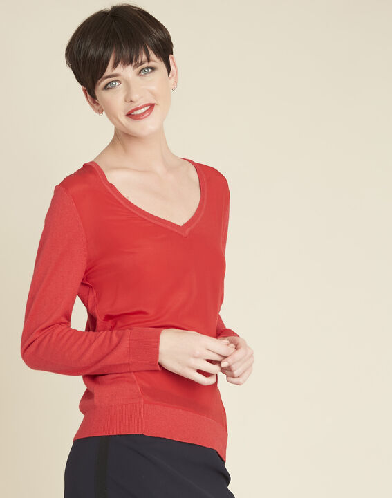 Bliss red dual-fabric sweater in cotton and silk with V-neckline PhotoZ | 1-2-3