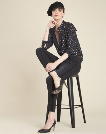 Chana black printed blouse with puffy sleeves black.