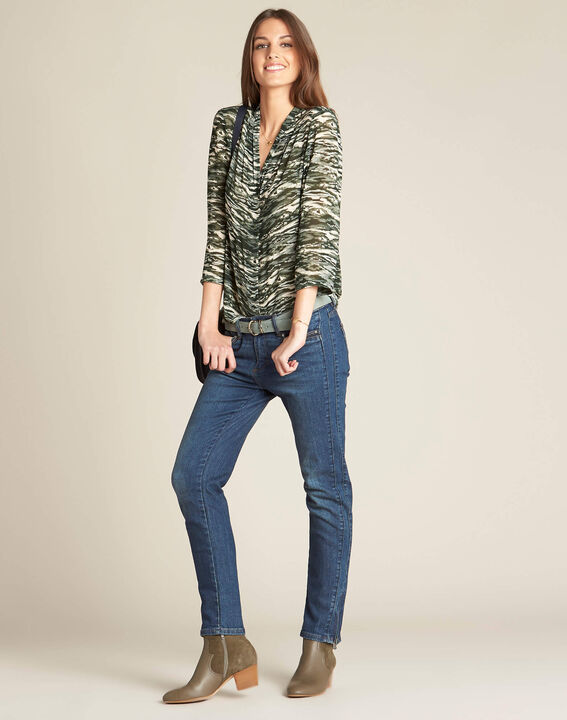 Khakifarbene Bluse mit Camouflage-Print Bianca (2) - 1-2-3
