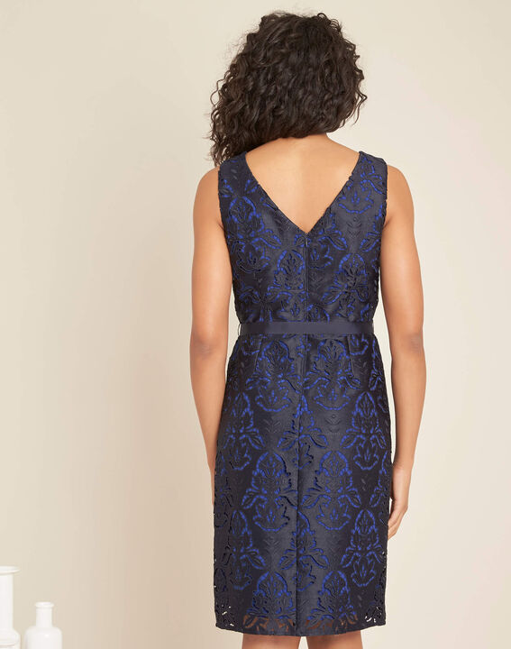 Icone navy lace dress with grosgrain belt (4) - 1-2-3