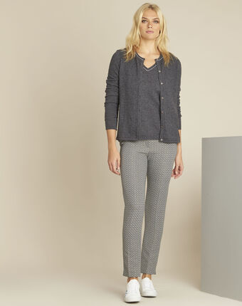 Ballerine grey wool cashmere fine knit cardigan dark grey.