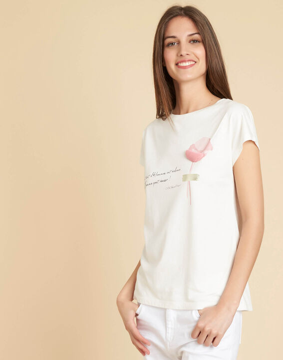 Tee-shirt blanc à inscription Erose (3) - 1-2-3