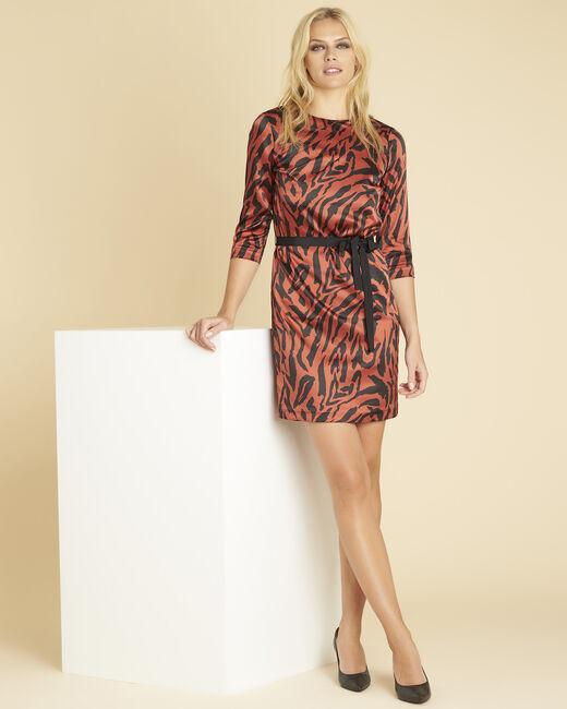 Baksteenrode jurk met dierenprint Diandra (2) - 37653