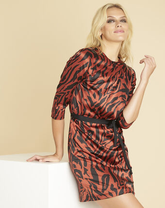 Diandra animal print dress in terracotta coral.