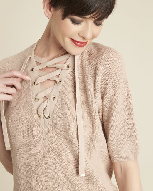 Boheme pink sweater with lacing and eyelets on the neckline (1) - 1-2-3