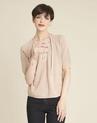 Rosa pullover mit schnür-ausschnitt und ösen boheme primerose.