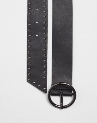 Raphael wide black leather studded belt black.