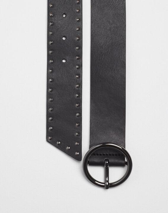 Breiter schwarzer Ledergürtel mit Nieten Raphael PhotoZ | 1-2-3
