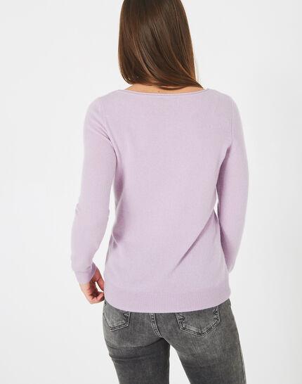 Petunia mauve cashmere sweater with round neck (4) - 1-2-3