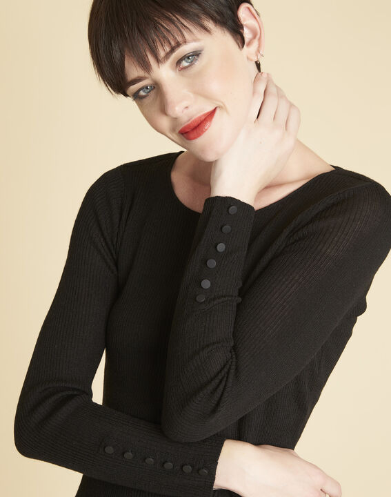 Bassus fine-knit black sweater with buttoned sleeves (3) - Maison 123
