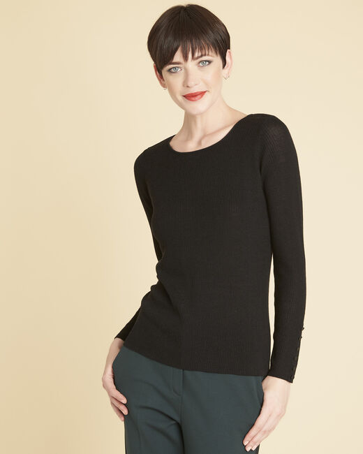 Bassus fine-knit black sweater with buttoned sleeves (2) - 1-2-3