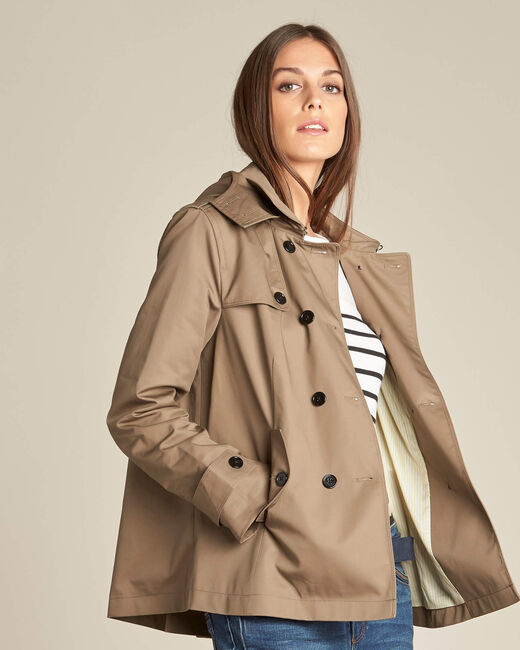 Kisaure leaf-green short trench coat (2) - 1-2-3