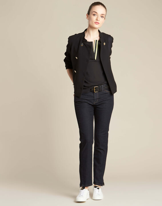 Garry black blouse with contrasting neckline (2) - 1-2-3