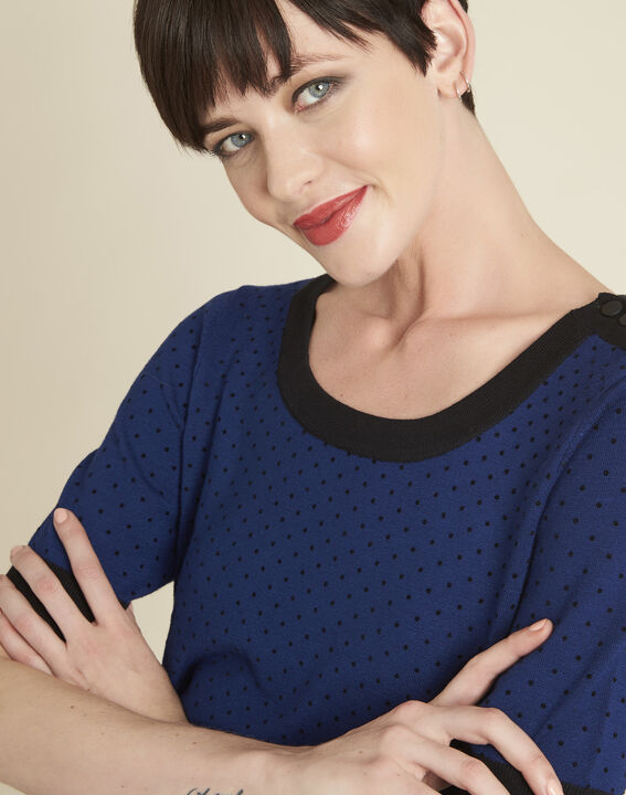 Becca blue polka dot sweater with contrasting trim (3) - 1-2-3