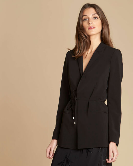 Veste noire col tailleur et lien à nouer Chiara (2) - 1-2-3