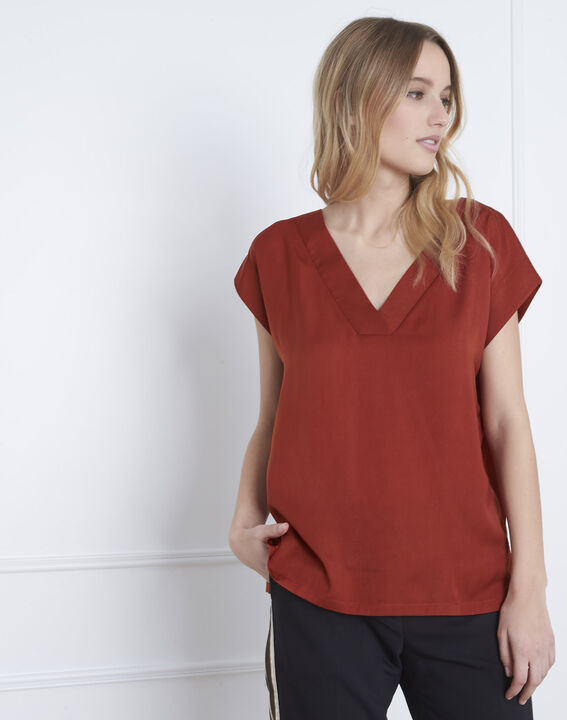 Mahagonifarbenes T-Shirt aus Bimaterial Prune (1) - Maison 123