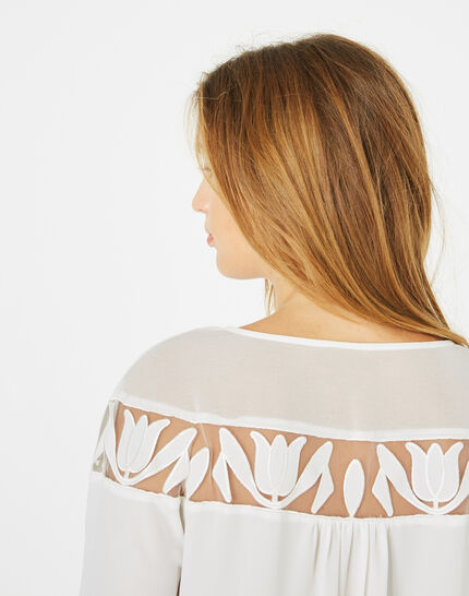 Delcia ecru blouse with petal detailing (4) - 1-2-3