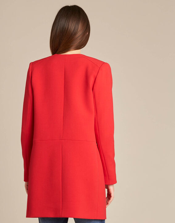 Kaya red straight-cut 3/4 length coat with zip detailing (4) - 1-2-3