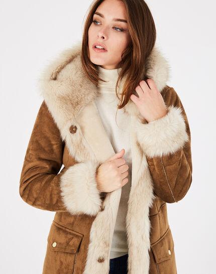 Manteau camel mi-long en peau lainée Lemilia (3) - 1-2-3