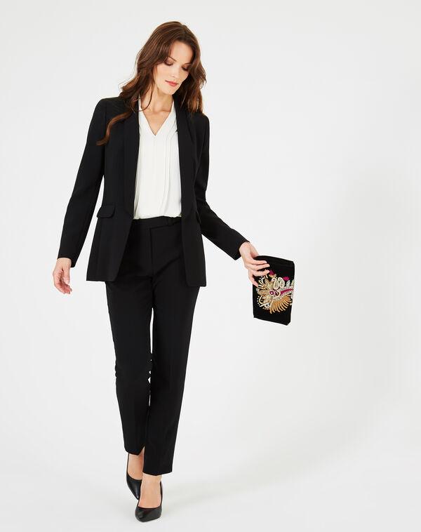 Veste de tailleur noir col châle mystère à