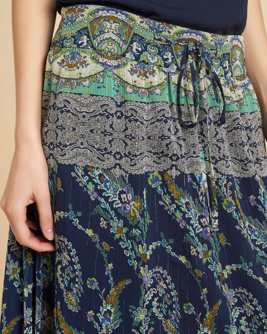 Lucius long navy skirt with ethnic pattern (1) - 1-2-3