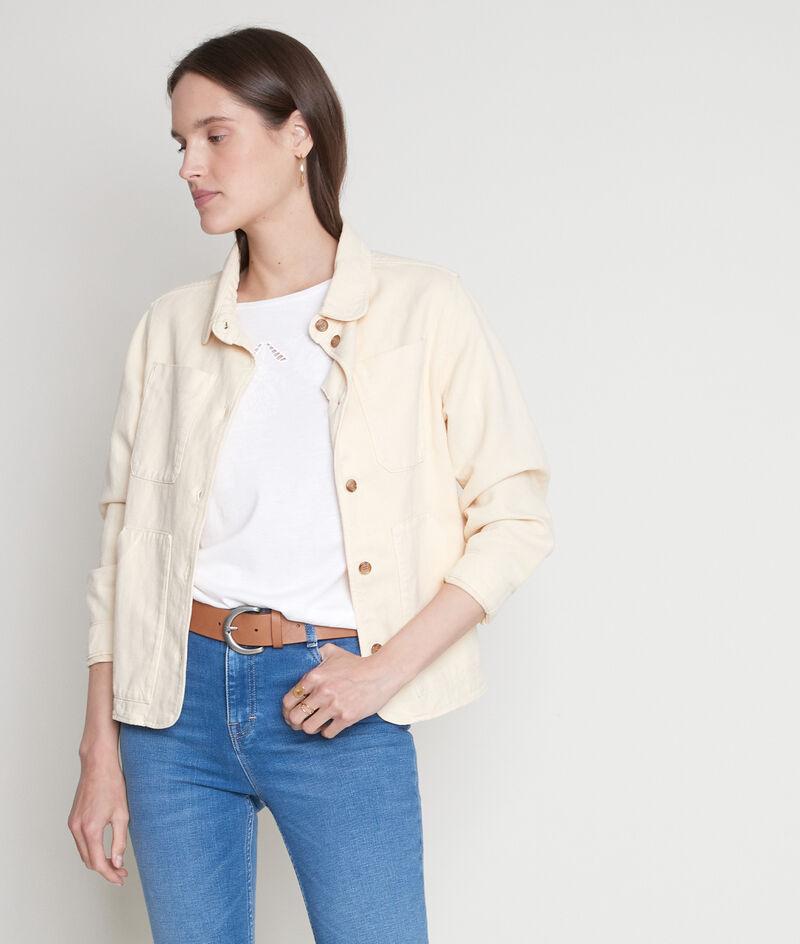 Tee-shirt en coton et modal brodé blanc Erza PhotoZ | 1-2-3