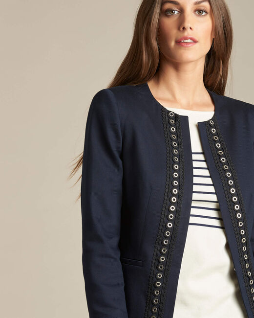 Cerise short navy jacket with guipure and eyelet detailing (1) - 1-2-3