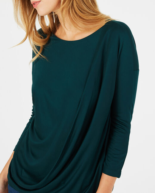 Bree forest green T-shirt with rounded neckline (2) - 1-2-3