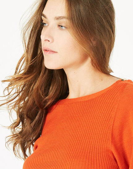 Pull orange en laine manches fantaisies Philo (3) - 1-2-3