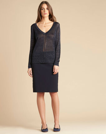 Noisetier navy blue openwork shiny sweater navy.
