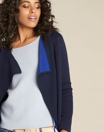 Nomade navy blue fine-gauge waterfall cardigan with tie navy.