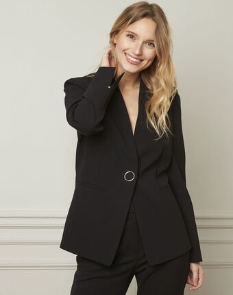 Majeste black tailored microfibre jacket black.