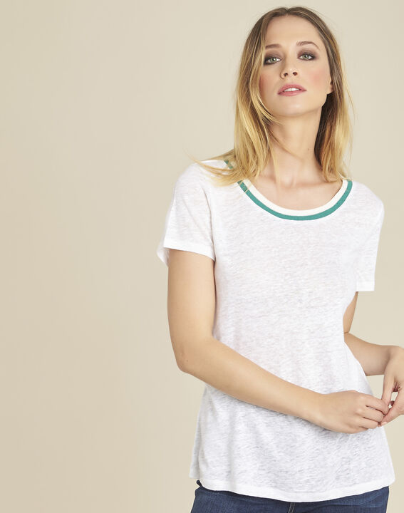 Weißes Leinen-T-Shirt Elu (1) - Maison 123