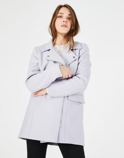 Manteau gris perle en laine mélangée Oryanne (2) - 1-2-3