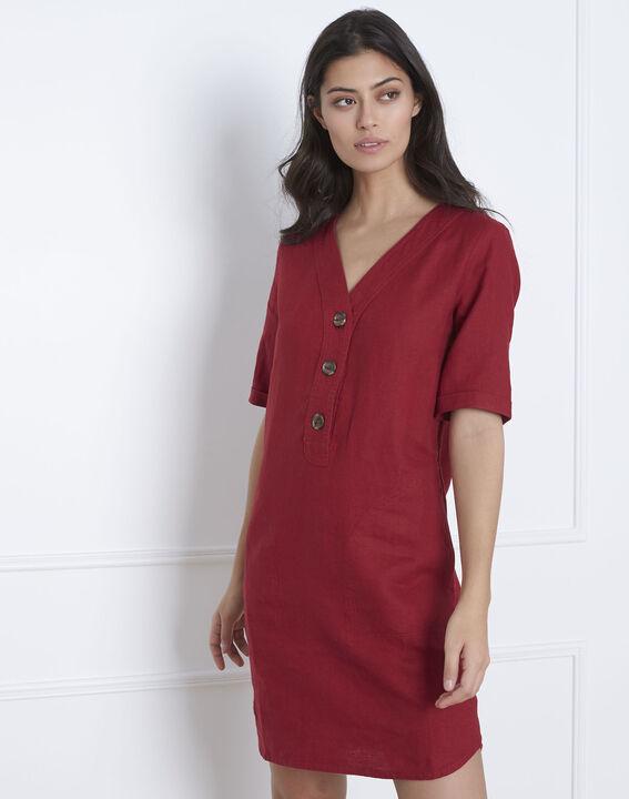 Robe rouge en lin Loanne (2) - Maison 123