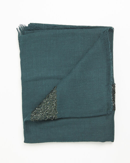 Fiona dark green wool blend scarf with sequins (1) - 1-2-3