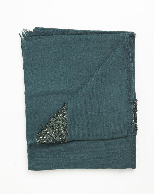 Foulard vert foncé sequins en laine mélangée Fiona (1) - 1-2-3