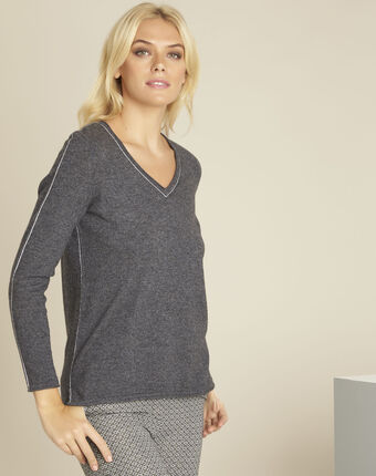 Pull gris laine cachemire maille fine boogie anthracite.