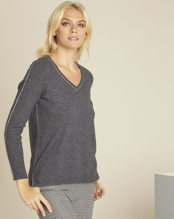 Pull gris laine cachemire maille fine boogie (1) - 1-2-3
