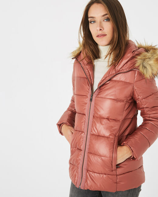Lena short, old rose puffer jacket (1) - 1-2-3