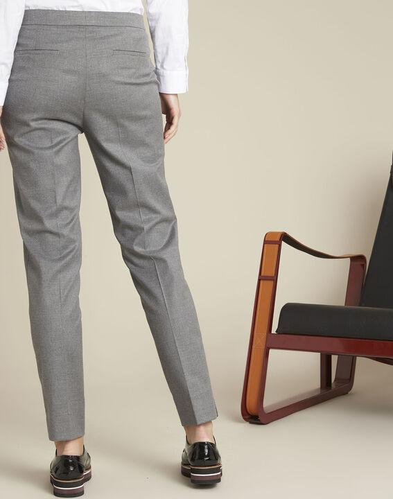 Pantalon cigarette gris zippé en viscose Lara (4) - 1-2-3