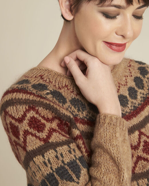 Balzac camel mohair pullover with decorative motif (2) - 1-2-3
