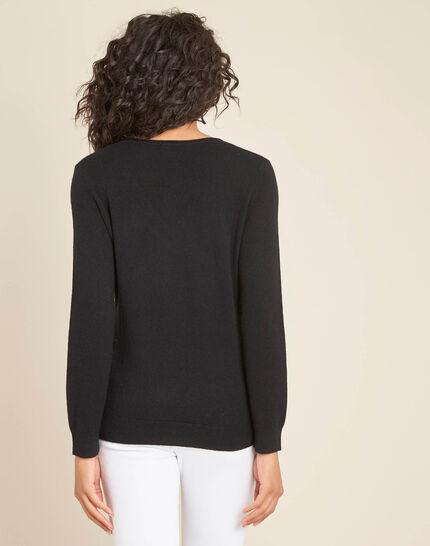 Pivoine black V-neck sweater in cashmere (4) - 1-2-3