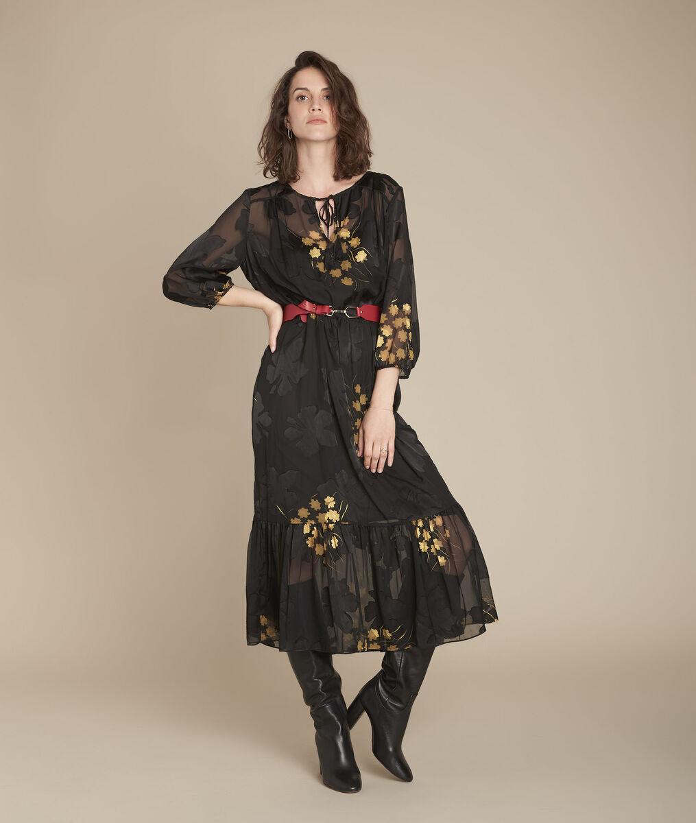 Langes, schwarzes Kleid in Ausbrenn-Optik, Rena