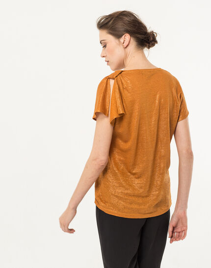 Tee-shirt ocre en lin Nuba (5) - 1-2-3