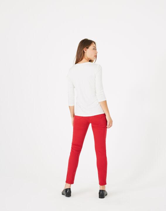 Ecru T-shirt uit twee materialen met hals van nettricot Bianca (5) - 37653