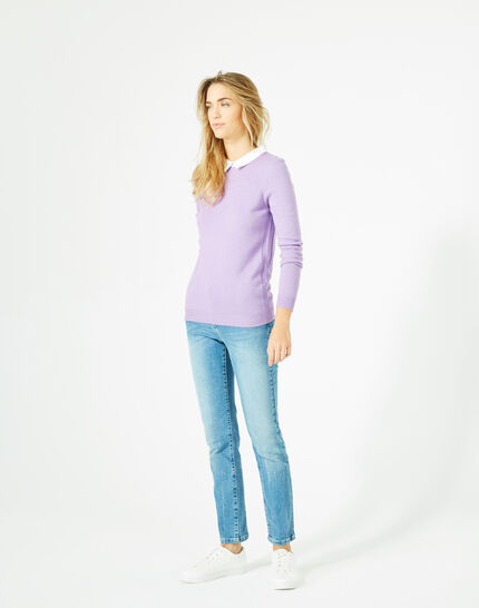 Pretty lilac sweater with stylish neckline (1) - 1-2-3