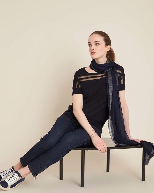 Ninja navy blue openwork sweater with round neck (1) - 1-2-3