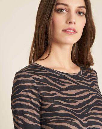 Ebahi linen t-shirt with zebra print and 3/4 length sleeves black.